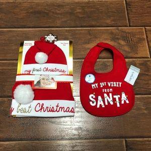 My 1st Christmas matching Mommy/Baby Hats & Bib